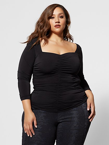 Plus Size Anaise Fitted Ruched Top - Fashion To Figure