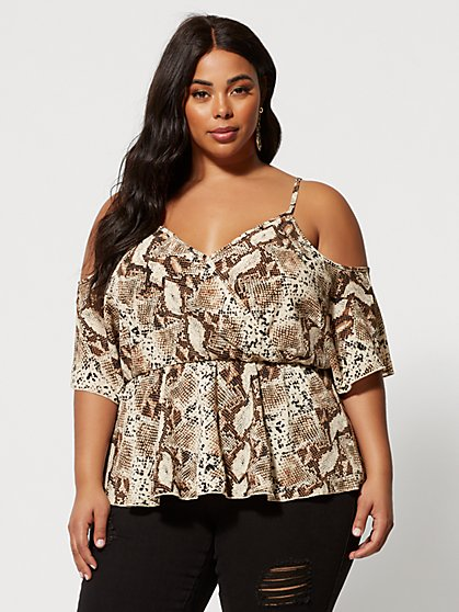 Plus Size Analena Snake Print Cold Shoulder Top - Fashion To Figure