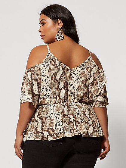 7ad3c0a0bdf6eb ... Plus Size Analena Snake Print Cold Shoulder Top - Fashion To Figure ...