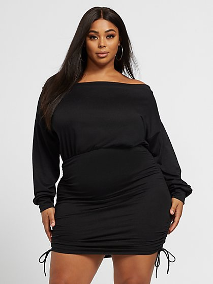 Plus Size Anastasia Off Shoulder Tie Dress - Fashion To Figure