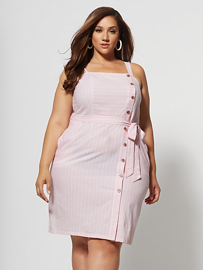 Plus Size Anaya Tie-Waist Button Dress - Fashion To Figure