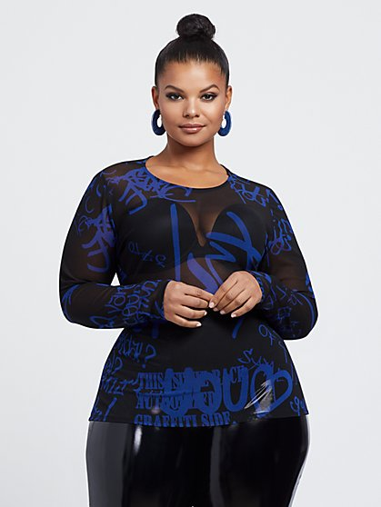 Plus Size Andie Graffiti Mesh Top - Fashion To Figure
