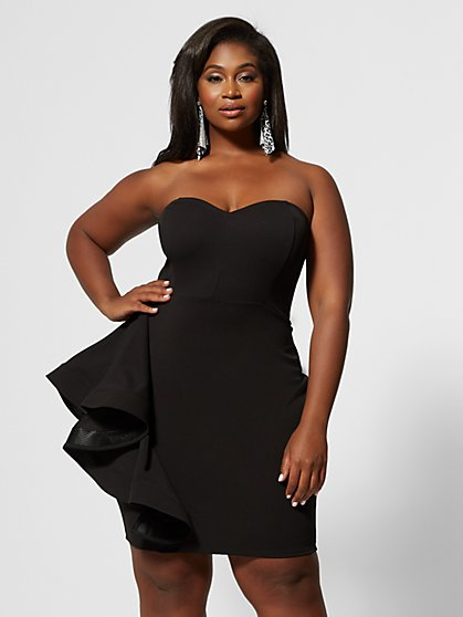 Plus Size Andrea Strapless Ruffle Bodycon Dress - Fashion To Figure