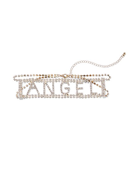 Plus Size Angel Rhinestone Choker - Fashion To Figure