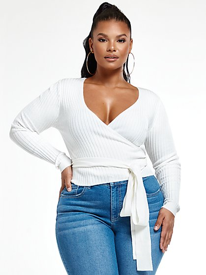 Plus Size Angel Rib Knit Wrap Top - Fashion To Figure