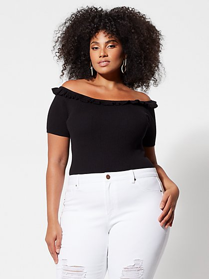 Plus Size Angelica Cropped Off Shoulder Sweater - Fashion To Figure