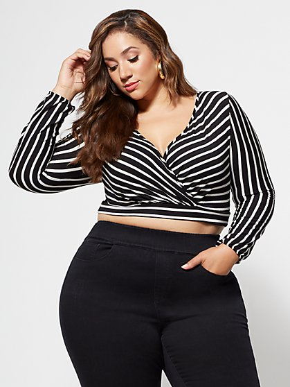 Plus Size Angie Striped Crop Top - Fashion To Figure