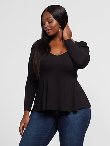 Plus Size Anika Peplum Top - Fashion To Figure