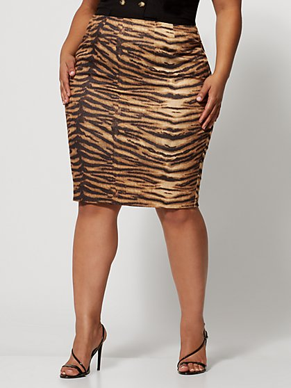 Plus Size Anika Tiger Print Pencil Skirt - Fashion To Figure