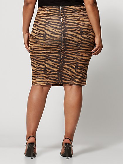 442f9fbab1 ... Plus Size Anika Tiger Print Pencil Skirt - Fashion To Figure ...