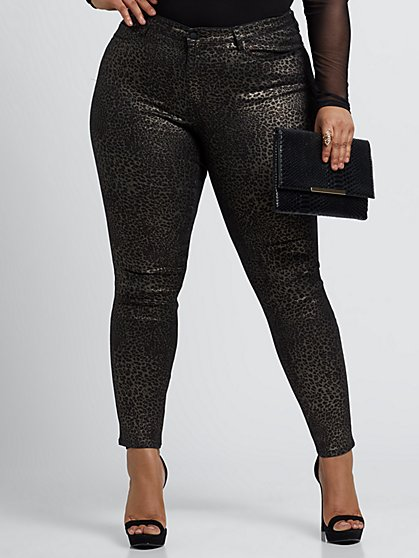 Plus Size Animal Coated Print Mid-Rise Skinny Jeans - Fashion To Figure