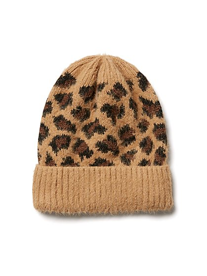 Plus Size Animal Print Beanie - Fashion To Figure