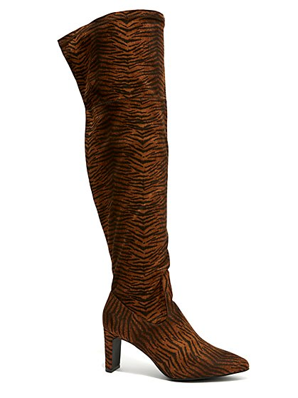 Plus Size Animal Print Over The Knee Boots - Wide Width - Fashion To Figure
