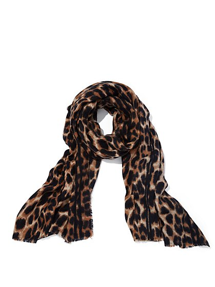 Plus Size Animal-Print Scarf - Fashion To Figure