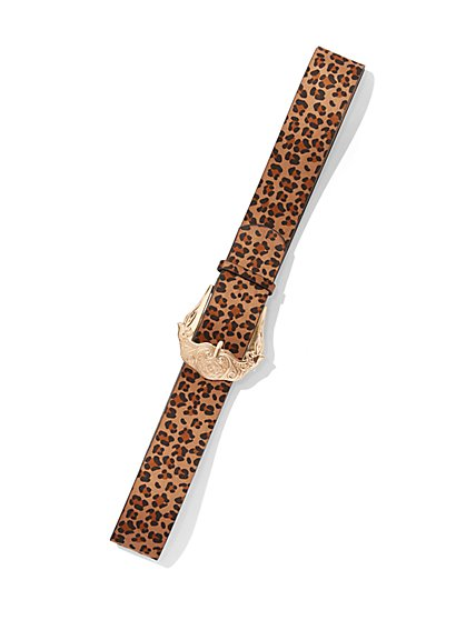 Plus Size Animal Print Statement Buckle Belt - Fashion To Figure