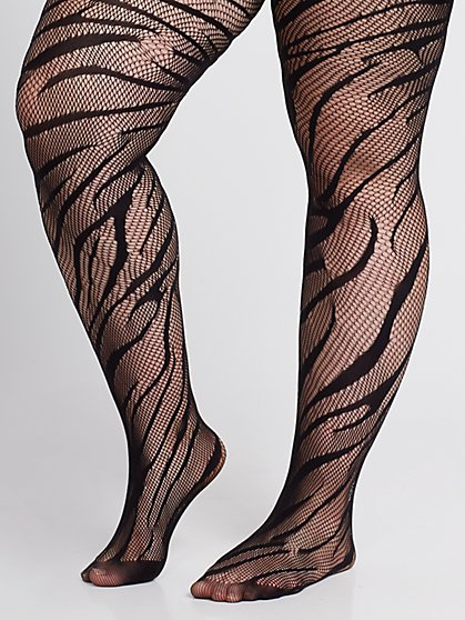 Plus Size Animal Stripe Black Tights - Fashion To Figure