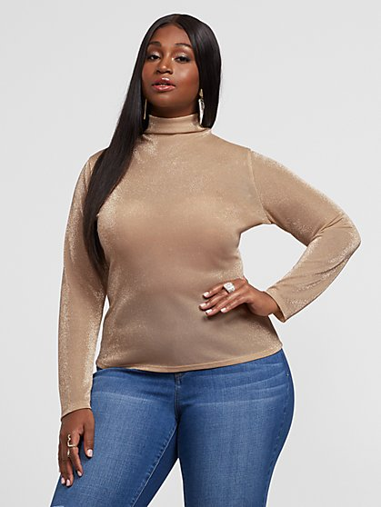 Plus Size Anita Champagne Turtleneck Top - Fashion To Figure