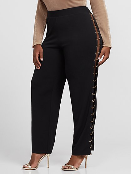 Plus Size Annalie Chain Side Wide Leg Pants - Fashion To Figure