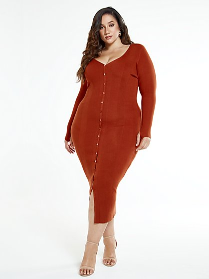 Plus Size Annelise Button Front Sweater Maxi Dress - Fashion To Figure