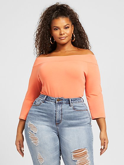 Plus Size Annie Off Shoulder Tee - Fashion To Figure
