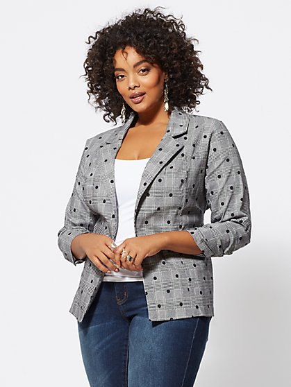 Plus Size Annie Polka-Dot Plaid Blazer - Fashion To Figure