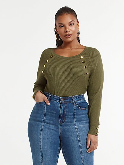 Plus Size Annie Rib Knit Sweater with Button Detail - Fashion To Figure
