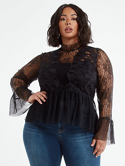 Plus Size Annika Lace Peplum Blouse - Fashion To Figure