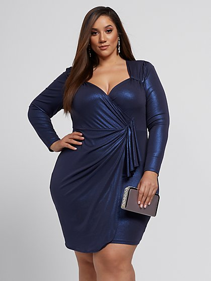 Plus Size Antonia Metallic Drape Dress - Fashion To Figure