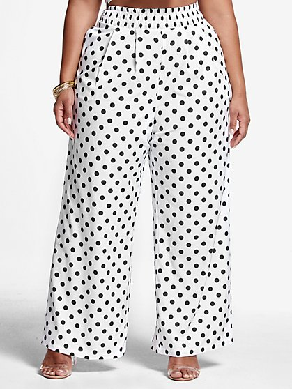Plus Size Antonia Polka Dot Wide Leg Pants - Fashion To Figure