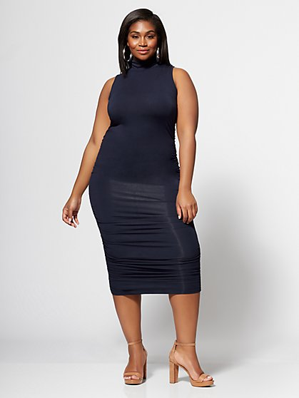 Plus Size Arabella Ruched Midi Dress - Fashion To Figure