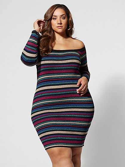 Plus Size Ari Off-Shoulder Sweater Dress - Fashion To Figure