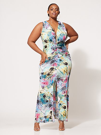 Plus Size Aria Ruched Maxi Dress - Fashion To Figure