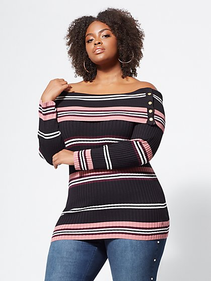 Plus Size Aria Striped Snap-Button Sweater - Fashion To Figure