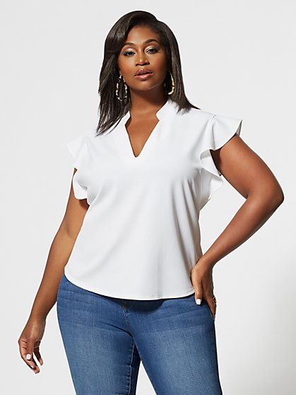 Plus Size Aria V-Neck Ruffle Sleeve Top - Fashion To Figure