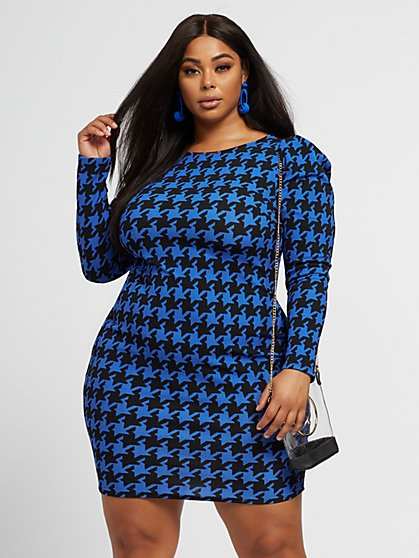 Plus Size Ariadne Houndstooth Bodycon Dress - Fashion To Figure