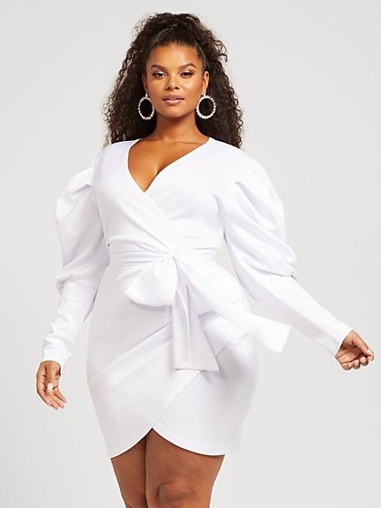 Plus Size Ariel Puff Sleeve Side-Tie Dress - Fashion To Figure
