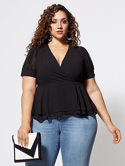 Plus Size Arielle Faux-Wrap Peplum Top - Fashion To Figure
