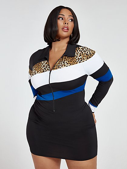 Plus Size Arielle Zip-Front Color Block Dress - Fashion To Figure