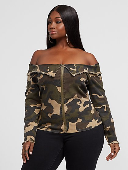 Plus Size Arlene Camo Off Shoulder Top - Fashion To Figure