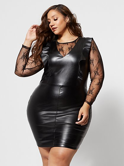 Plus Size Arlene Faux-Leather and Lace Dress - Fashion To Figure