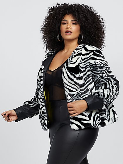 Plus Size Ashby Zebra Print Faux-Fur Jacket - Fashion To Figure