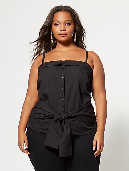 Plus Size Ashleigh Tie-Front Tank Top - Fashion To Figure