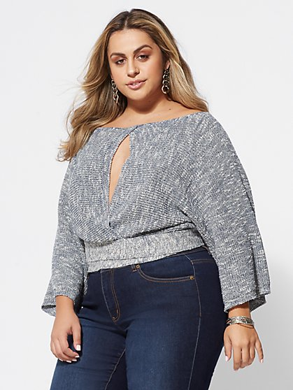 Plus Size Ashley Cutout-Accented Sweater - Fashion To Figure