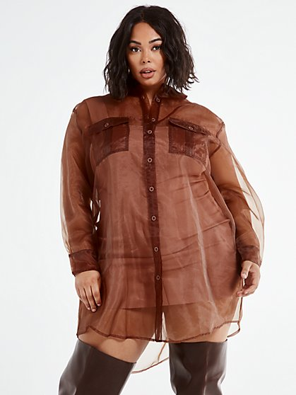 Plus Size Athena Organza Shirt Dress - Fashion To Figure