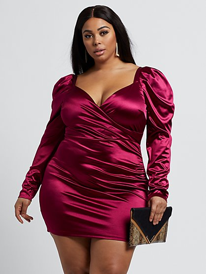 Plus Size Athena Ruched Satin Dress - Fashion To Figure