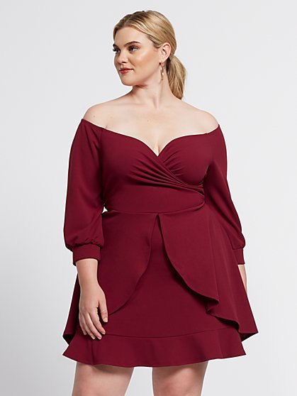 Plus Size Audra Off Shoulder Ruffle & Flare Dress - Fashion To Figure