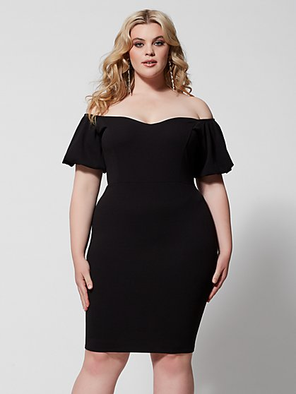 Plus Size Audree Puff Sleeve Bodycon Dress - Fashion To Figure