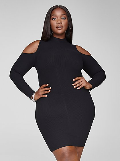 Plus Size Audrey Cold Shoulder Bodycon Dress - Fashion To Figure