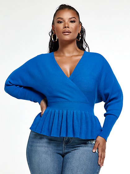 Plus Size Audrey Peplum Sweater with Dolman Sleeves - Fashion To Figure