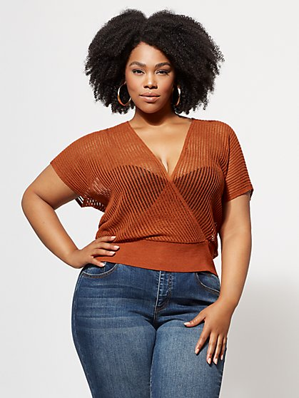 Plus Size Audrina Knit Crop Top - Fashion To Figure